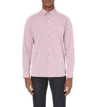 Ted Baker Polka Dot Jacquard Cotton Shirt Red
