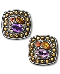Effy Collection Balissima By Effy Multistone Square Stud Earrings In 18K Gold And Sterling Silver