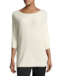 Vince Cashmere 3 4 Sleeve Boat Neck Sweater White