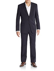 Versace Regular Fit Pinstriped Wool Suit Blue