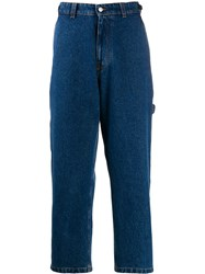 Ami Alexandre Mattiussi Straight Leg Buckle Side Jeans Blue