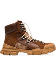 Gucci Brown And Cream Gg Journey Leather Hiking Boots