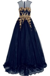 Reem Acra Embellished Tulle Gown Navy