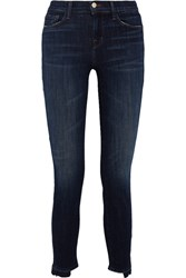 J Brand Distressed Mid Rise Skinny Jeans Dark Denim