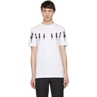 Neil Barrett White Lightning Bolt T Shirt