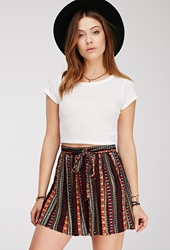 Forever 21 Pleated Tribal Print Skirt Red Blue