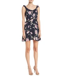 Cupcakes And Cashmere Loraine Floral Print Ruffle Mini Dress Navy