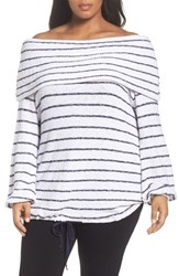 Caslonr Plus Size Women's Caslon Off The Shoulder Sweater White Navy Stripe