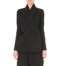 Rick Owens Wrap Around Virgin Wool Jacket Black