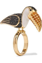 Noir Jewelry Woman 14 Karat Gold Plated Crystal And Enamel Ring Gold