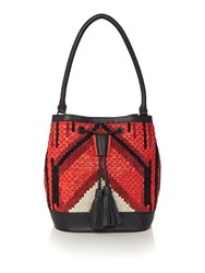 Dickins And Jones Tamara Woven Bucket Bag Red