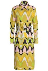 Emilio Pucci Printed Cotton Blend Canvas Trench Coat Sage Green