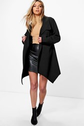 Boohoo Oversized Collar Wool Look Coat Black