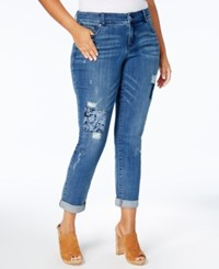 Inc International Concepts Plus Size Ripped Jeans Created For Macy's Indigo