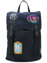 Versace Patches Backpack Men Leather Nylon One Size Blue