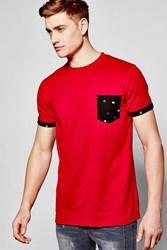Boohoo Sleeve Pocket T Shirt With Print Red