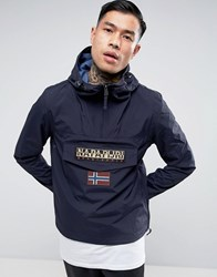 Napapijri Rainforest Overhead Jacket Hooded Layered Nylon In Navy Blue Marine
