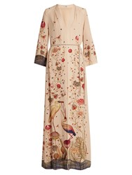 Vilshenko Jill Crane And Botanical Print Silk Gown Cream Multi