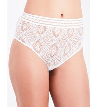 Else Baroque Stretch Lace High Waisted Briefs White