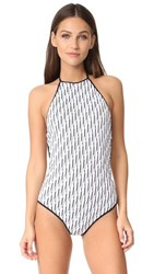 Diane Von Furstenberg Halter Neck Swimsuit White Black