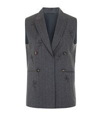 Brunello Cucinelli Floral Chain Double Breasted Gilet Female Grey