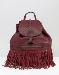 Glamorous Drawstring Backpack With Stud And Fringe Detail Burgundy Red