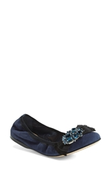 Miu Miu Crystal Bow Ballet Flat Women Blue