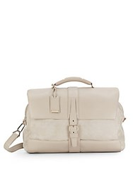 Brioni Leather And Printed Suede Duffel Bag Cream