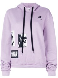 Damir Doma Patch Work Hooded Sweatshirt Pink And Purple