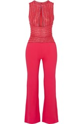 Zuhair Murad Embellished Silk Blend Crepe And Tulle Jumpsuit Red