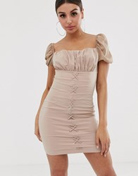 Naanaa Ruched Mini Dress With Lace Up Front Beige