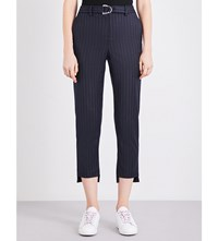 Maje Paly Stepped Hem High Rise Woven Trousers Marine