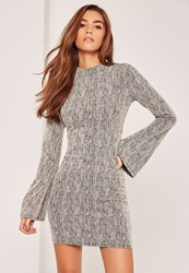 Missguided Grey Bell Sleeve Tweed High Neck Dress