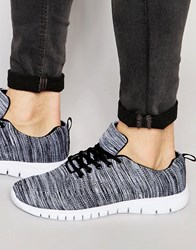 New Look Knitted Trainers In Black Pattern Black