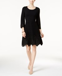 Charter Club Petite Lace Hem Fit And Flare Dress Created For Macy's Deep Black