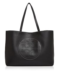 Tory Burch Perforated Logo Leather Tote Black Light Oak
