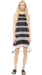 Band Of Outsiders Sheer Stripe Trapeze Dress Black White