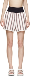 Sacai Luck Navy And Red Boucl Striped Shorts