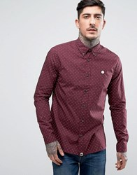 Pretty Green Shirt With Polka Dot In Slim Fit Burgundy Burgundy Red