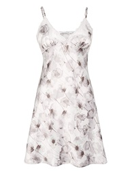 John Lewis Shadow Floral Satin Chemise Grey