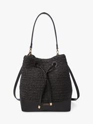 Ralph Lauren Dryden Debby Straw Bucket Bag Black