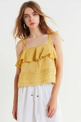 Urban Outfitters Uo Coco Ruffle Lace Cami Yellow