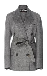 Rochas Double Breasted Wool Coat Dark Grey