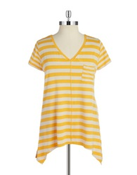 Jones New York Plus Plus Asymmetrical V Neck Tee Marigold
