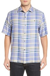 Tommy Bahama Men's Manoa Original Fit Madras Plaid Silk Camp Shirt Ritzy Purple