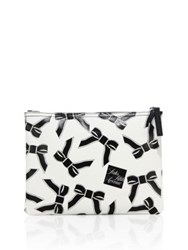 Saks Fifth Avenue Large Saffiano Faux Leather Bow Pouch White Black