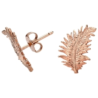 Dower And Hall Small 18Ct Rose Gold Vermeil Feather Stud Earrings