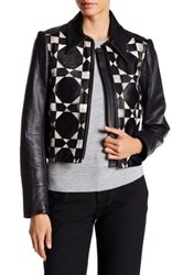 Yigal Azrouel Genuine Snakeskin Patchwork Accented Genuine Leather Jacket Black