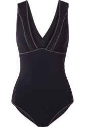 Stella Mccartney Cutout Mesh Paneled Swimsuit Midnight Blue