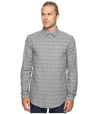 Original Penguin Long Sleeve Heathered Windowpane Woven Shirt Griffin Men's Long Sleeve Button Up Gray